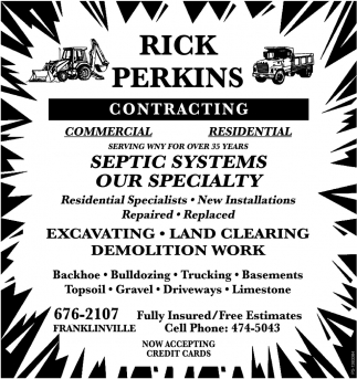 Contracting, Rick Perkins Contracting, Franklinville, NY