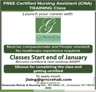 Free Certified Nursing Assistant Cna Training Class Gowanda