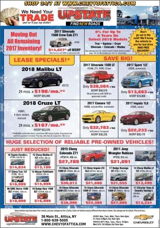 We Need Your Trade, Upstate Chevrolet, Attica, NY