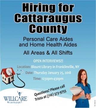 Hiring For Cattaraugus County, WillCare