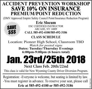 Accident Prevention Workshop Save 10% On Insurance Premium
