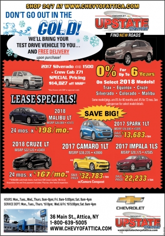 Lease Specials!, Upstate Chevrolet, Attica, NY