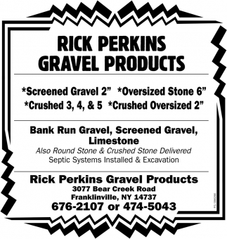 Ban Run Gravel, Screened Gravel, Limestone, Rick Perkins Gravel Products, Franklinville, NY