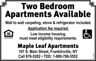 Two Bedroom Apartments Available