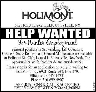 help wanted for winter employment, holimont , ellicottville, ny