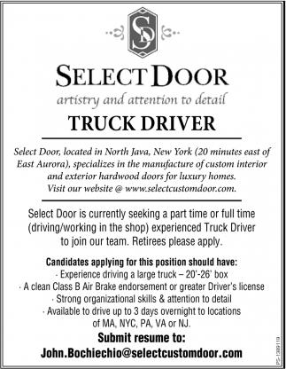 sc 1 th 255 & Truck Driver Select Door - Seeking North Java NY