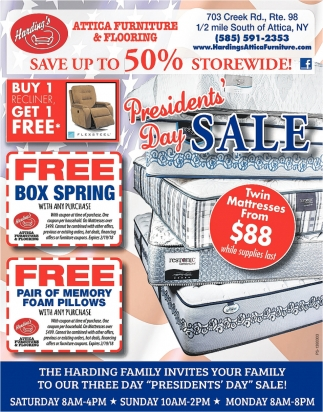MLK Weekend Savings Event!, Hardingu0027s Attica Furniture And Flooring, Attica,  NY