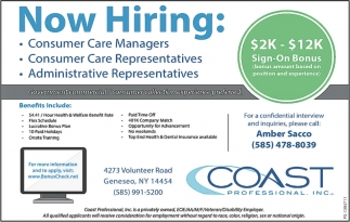Experienced Consumer Care Representatives