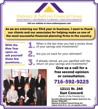 Visit Our Website At www.mahoneyassoc.com