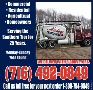 Call us toll free for your next order!, Haley Concrete, Delevan, NY