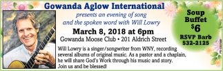 Gowanda Aglow International presents an evening of song and the spoken word with Will Lowry