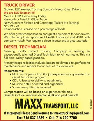Truck driver & Diesel Technician