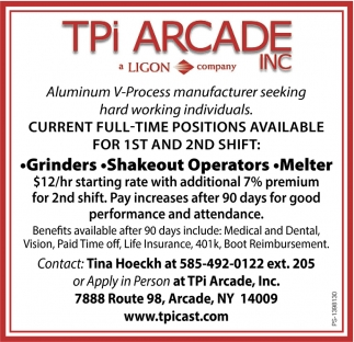 Current full-time positions available, TPI Arcade
