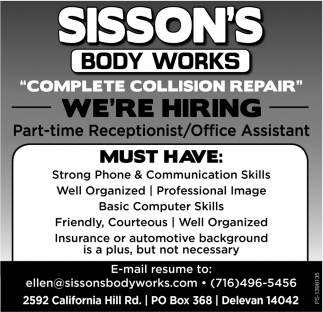 We're Hiring, Sisson's Body Works, Delevan, NY