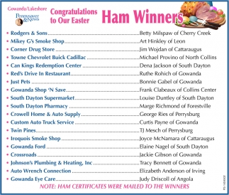 Congratulations to Our Easter Ham Winners