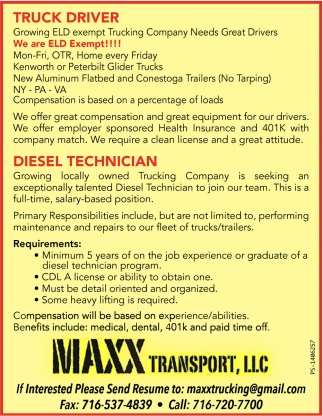 Truck Driver and Diesel Technician