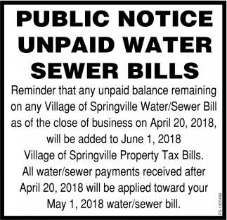 Public Notice Unpaid Water Sewer Bills