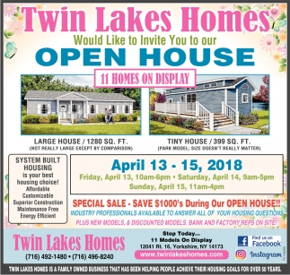 Open House 11 Homes on Display