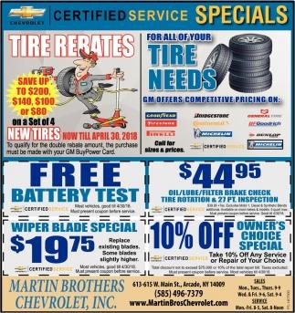 Certified Service Specials
