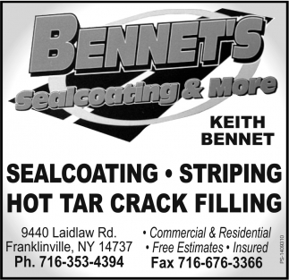 Sealcoating And More, Bennet's, Franklinville, NY