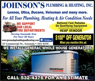 generac ads. Simple Generac Johnsonu0027s Plumbing And Heating Inc Ads From Gowanda Pennysaver With Generac L