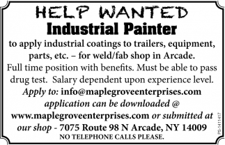 Help Wanted - Industrial Painter