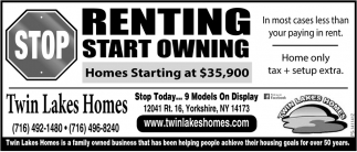 Stop Renting Start Owning, Twin Lakes Homes, Yorkshire, NY