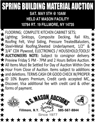 Spring Building Material Auction
