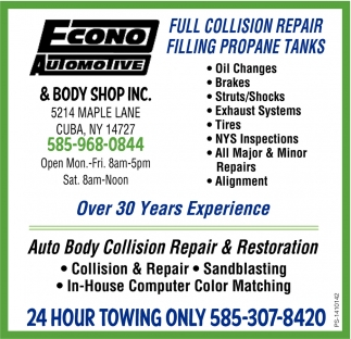 Full Collision Repair Filling Propane Tanks, Econo Automotive And Body Shop Inc., Cuba, NY