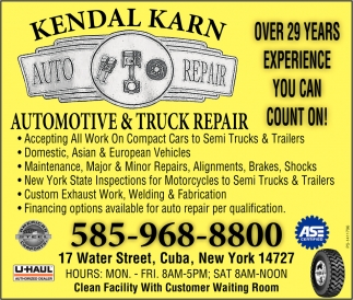 Automotive & Truck Repair, Kendal Karn Automotive, Cuba, NY