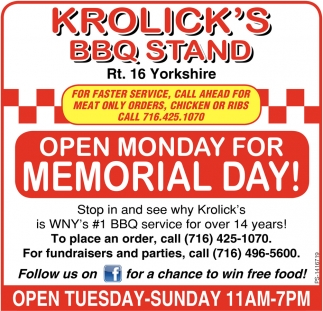 Open Monday For Memorial Day!