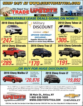 Unbeatable Lease Specials!, Upstate Chevrolet, Attica, NY