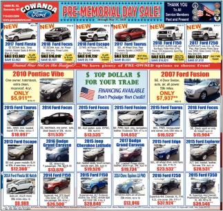 Pre-Memorial Day Sale!