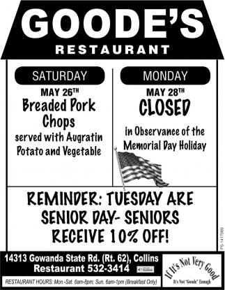 Monday May 28th Closed