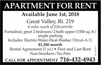 Available June 1st, 2018, Apartment or Rent