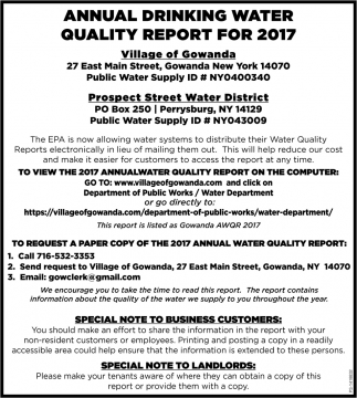 Annual Drinking Water Quality Report For 2017