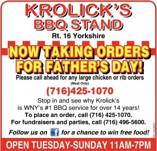 Now Taking Orders For Father's Day!