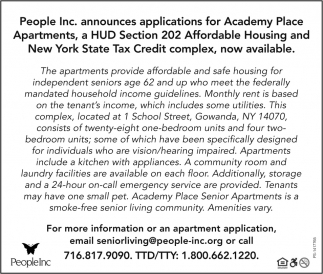 Announces Applications For Academy Place Apartments