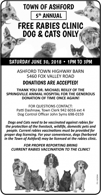 5th Annual Free Rabies Clinic Dog And Cats Only