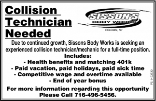 Collision Technician Needed