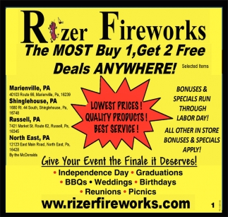Deals ANYWHERE!, Rizer Fireworks, North East, PA