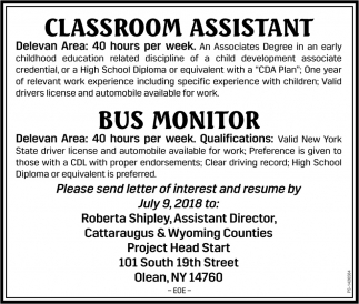 Classroom Assistant, Cattaraugus And Wyoming Counties, Olean, NY