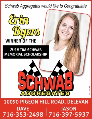 Erin Byers Winner Or The 2018 Tim Schwab Memorial Scholarship