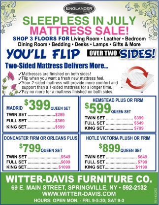 Sleepless In July Mattress Sale!