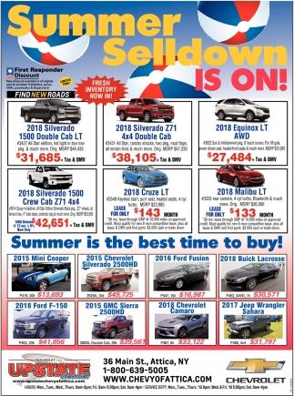 Summer Selldown Is On!, Upstate Chevrolet, Attica, NY