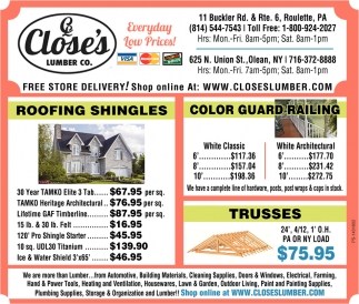 Roofing Shingles, Close's Lumber, Olean, NY