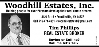 Real Estate Broker, Woodhill Estates, Inc Tim Phillips , Franklinville, NY