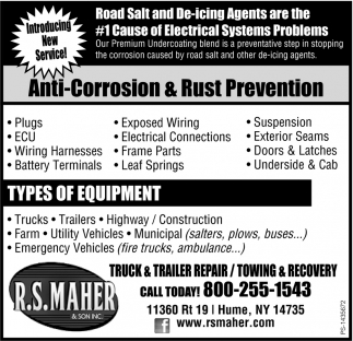 Anti-Corrosion & Rust Prevention , R.S. Maher and Son Inc., Hume, NY
