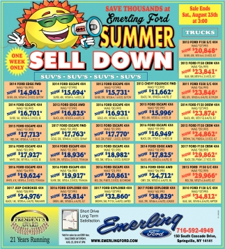 Summer Sell Down