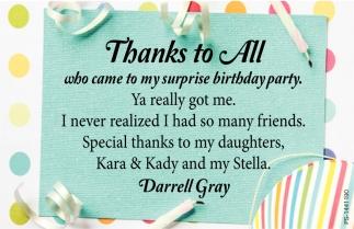 my surprise birthday party